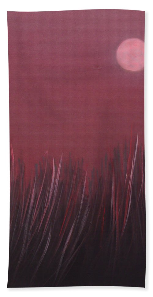 Landscape Bath Sheet featuring the painting The dusk by Sergey Bezhinets