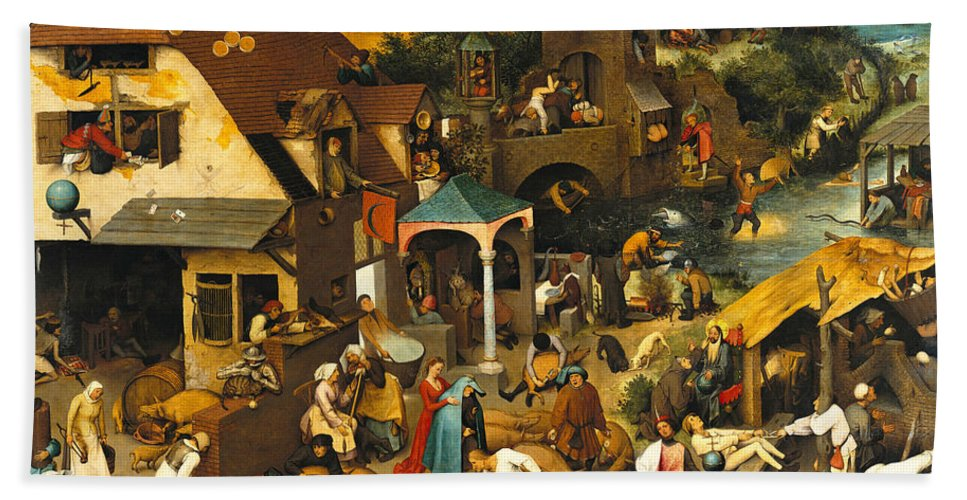 Pieter Bruegel The Elder Hand Towel featuring the painting The Dutch Proverbs by Pieter Bruegel the Elder