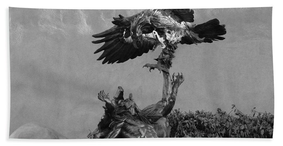 Eagle Bath Sheet featuring the photograph The Eagle And The Indian In Black And White by Rob Hans
