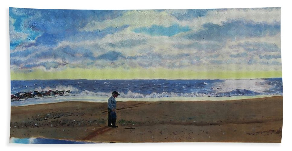 Seascape Painting Hand Towel featuring the painting The Early Fisherman by Jeannie Allerton