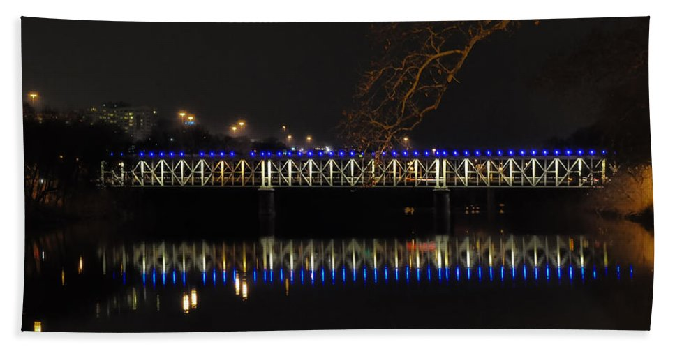East Hand Towel featuring the photograph The East Falls Bridge At Night - Philadelphia by Bill Cannon