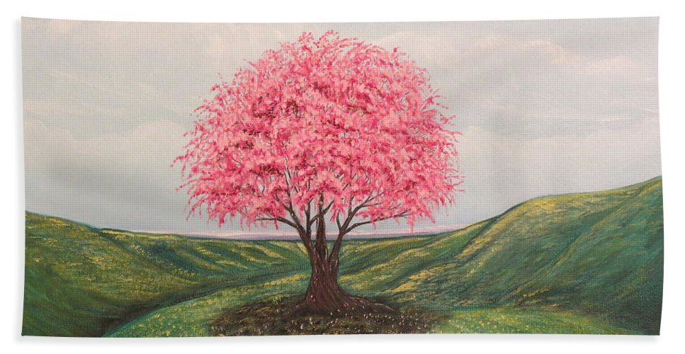 Aimee Mouw Bath Sheet featuring the painting The Elysian Fields by Aimee Mouw