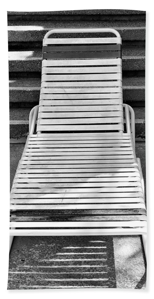 Chaise Hand Towel featuring the photograph The Empty Chaise Palm Springs by William Dey