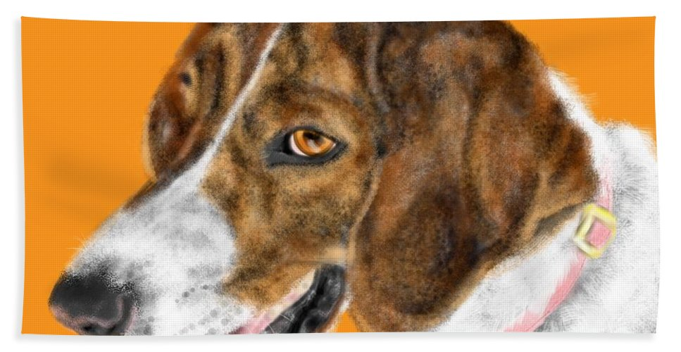 Animal Bath Sheet featuring the painting The English Pointer Foxhound by Lois Ivancin Tavaf