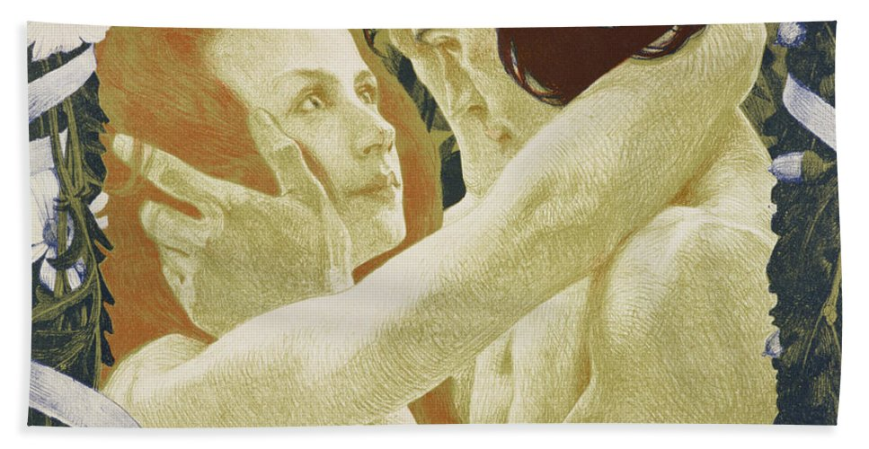 Nude Hand Towel featuring the painting The Enigma by Henri Jules Ferdinand Bellery-Defonaines