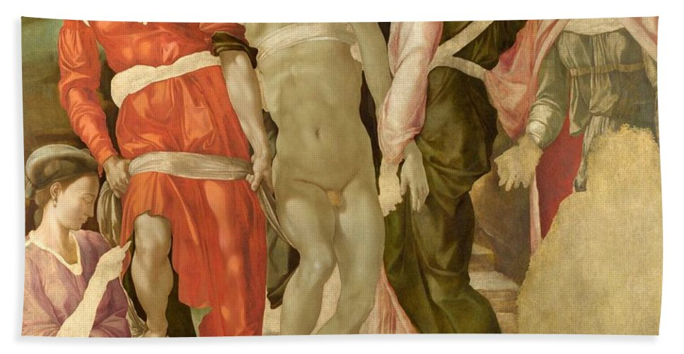 1501 Hand Towel featuring the painting The Entombment by Michelangelo Buonarroti