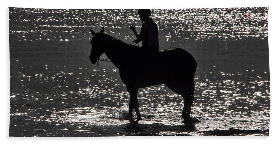 Equestrian Bath Sheet featuring the photograph The Equestrian-silhouette by Douglas Barnard