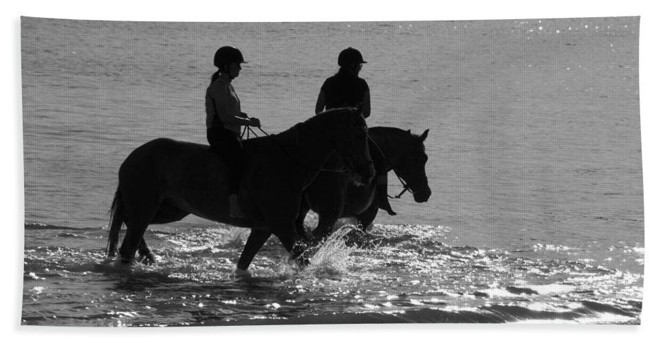 Equestrian Bath Sheet featuring the photograph The Equestrians-silhouette V2 by Douglas Barnard