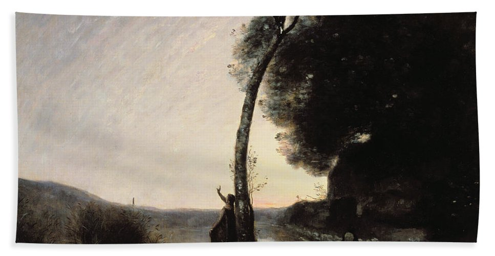 The Evening Star Hand Towel featuring the painting The Evening Star by Jean Baptiste Camille Corot