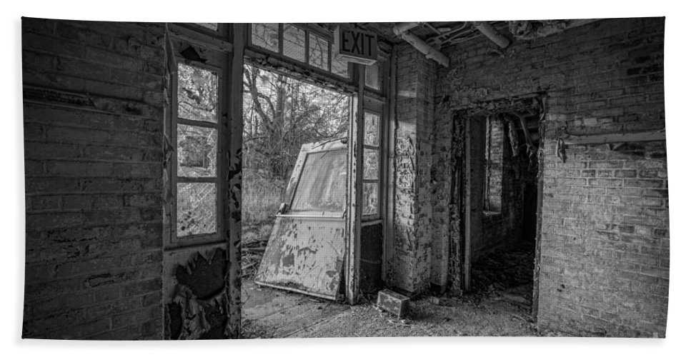 Exit Bath Sheet featuring the photograph The Exit Bw by Michael Ver Sprill
