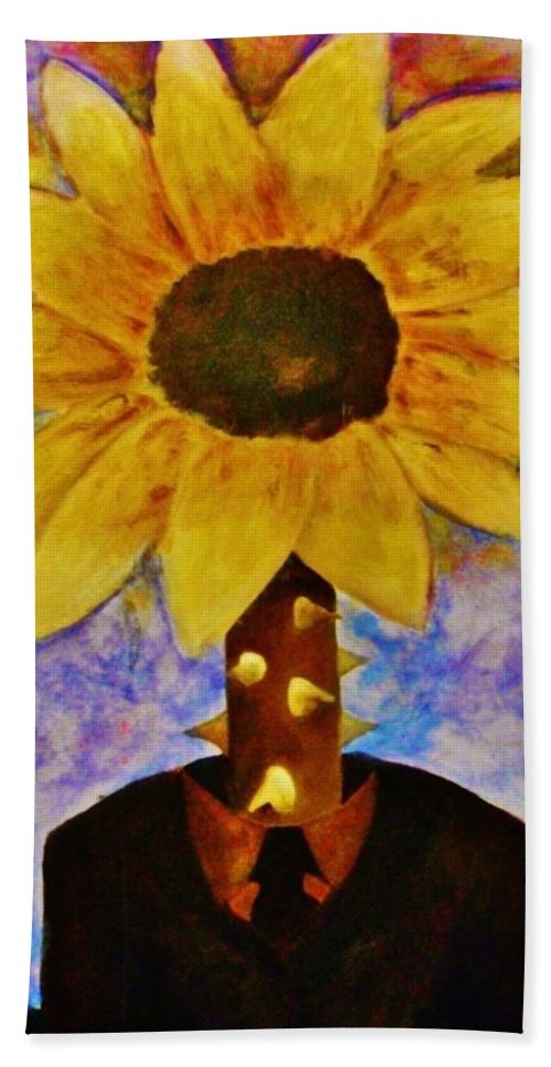 Surreal Hand Towel featuring the painting The Extraordinary Man by Crystal Menicola