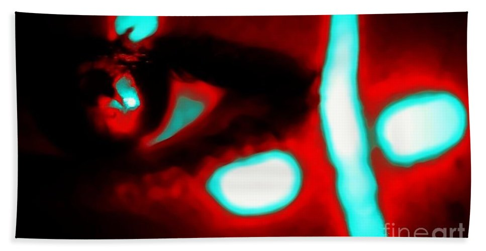 Red Bath Sheet featuring the photograph The Eye by Jessica Shelton