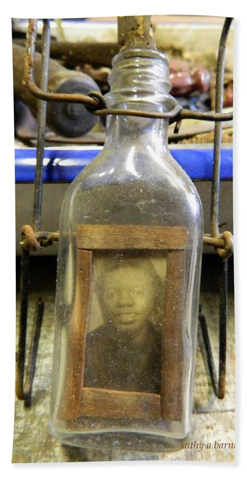 Bottle Bath Sheet featuring the photograph The Face In The Bottle by Kathy Barney