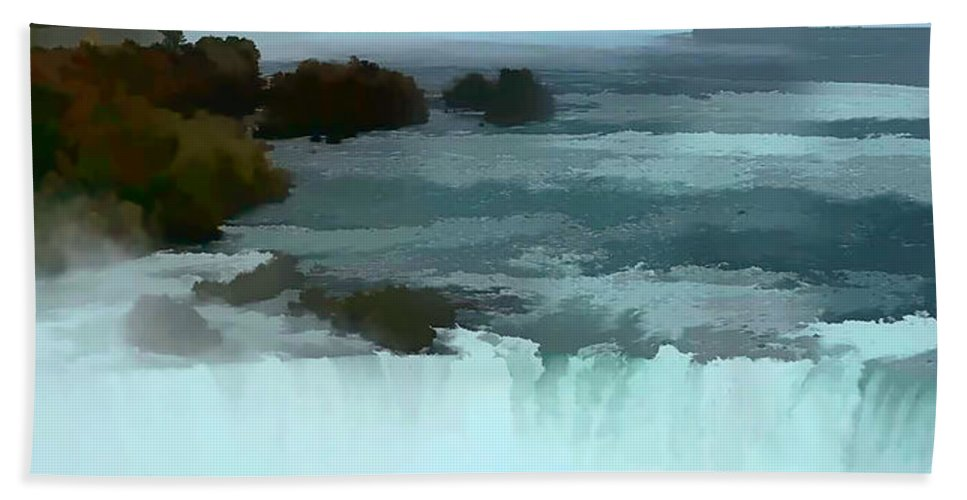 Niagara Falls Photo Hand Towel featuring the photograph The Falls-oil Effect Image by Tom Prendergast
