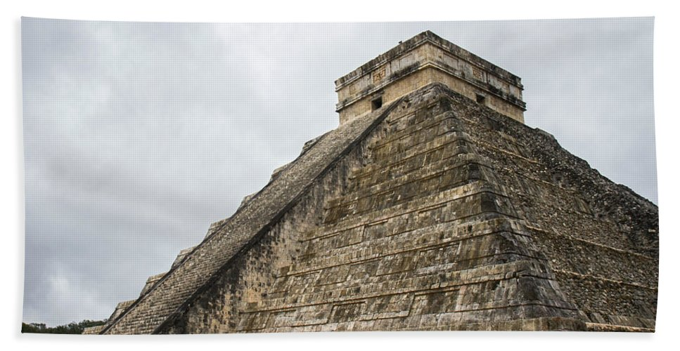 Chichen Itza Bath Sheet featuring the photograph The Famous Kulkulcan Pyramid At Chichen Itza by For Ninety One Days