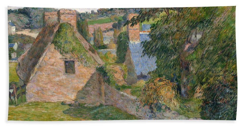 Paul Gauguin Hand Towel featuring the painting The Field Of Derout-lollichon by Paul Gauguin