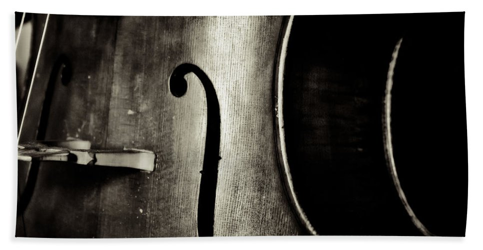 Cello Hand Towel featuring the photograph The Figure Of A Cello by Emily Kay