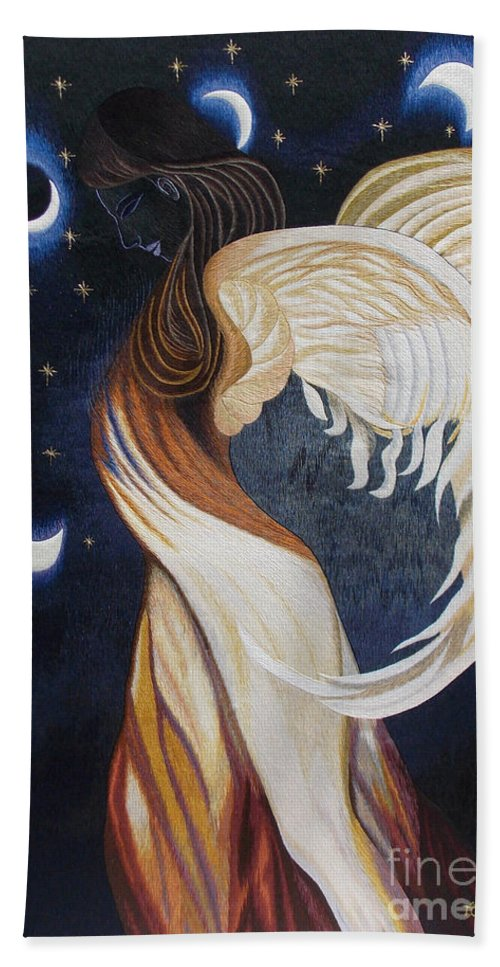 Eclipse Bath Sheet featuring the tapestry - textile The Final Eclipse Before The Millenium Hand Embroidery by To-Tam Gerwe