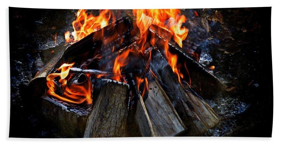 Fire Bath Sheet featuring the photograph The Fire by Davandra Cribbie