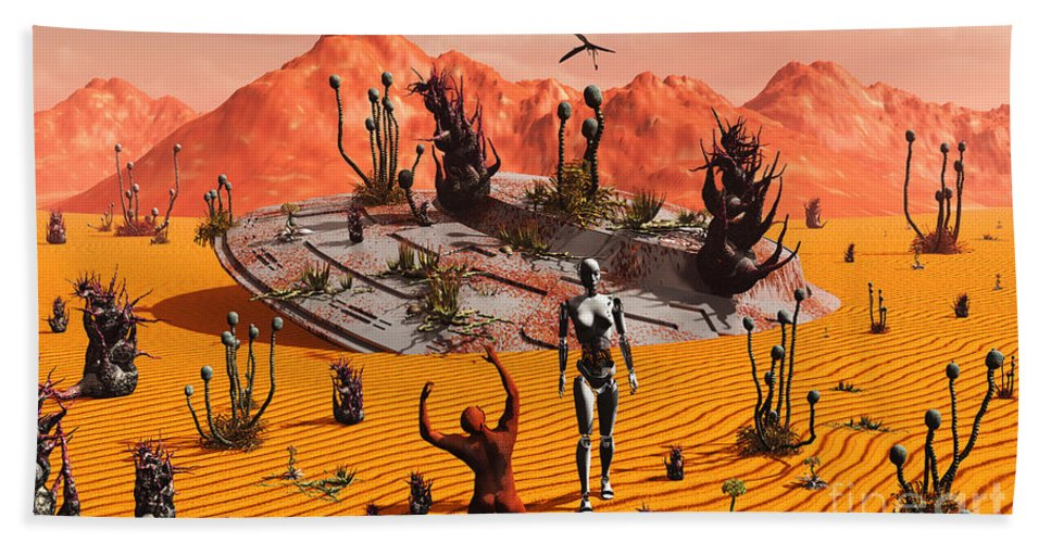 Artwork Hand Towel featuring the digital art The First Man, Adam, Greeting An Alien by Mark Stevenson
