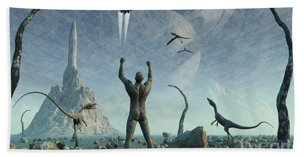 Artwork Hand Towel featuring the digital art The First Man, Adam, Greets The Return by Mark Stevenson