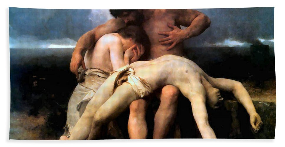 The First Mourning Hand Towel featuring the digital art The First Mourning by William Bouguereau
