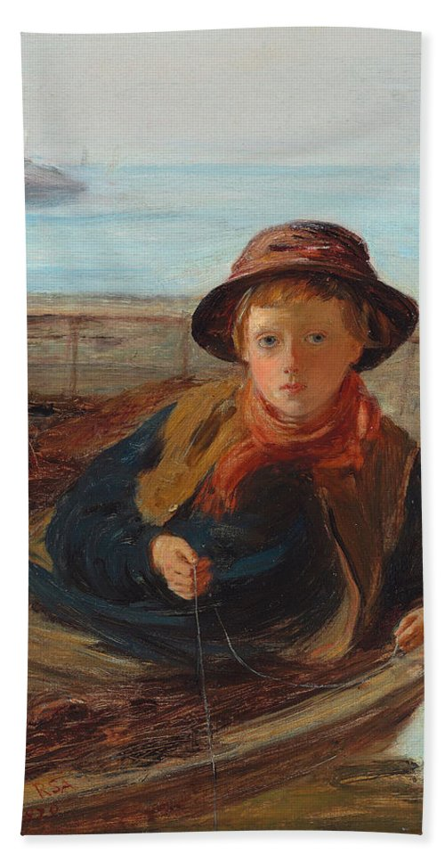 The Fisher Boy Bath Sheet featuring the painting The Fisher Boy by William McTaggart