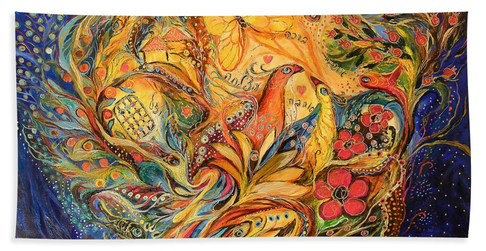 Original Bath Sheet featuring the painting The Fishermen Village by Elena Kotliarker