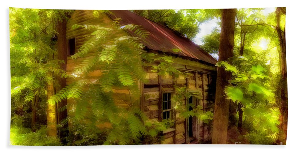 Cabin Bath Sheet featuring the photograph The Fixer-upper by Lois Bryan