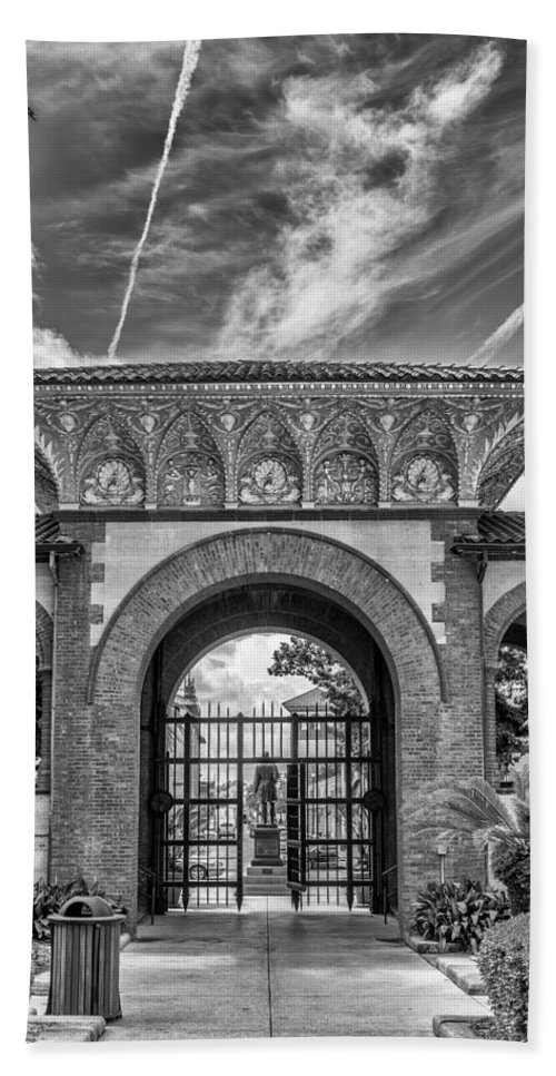 St. Augustine Hand Towel featuring the photograph The Flagler College Entrance by Howard Salmon