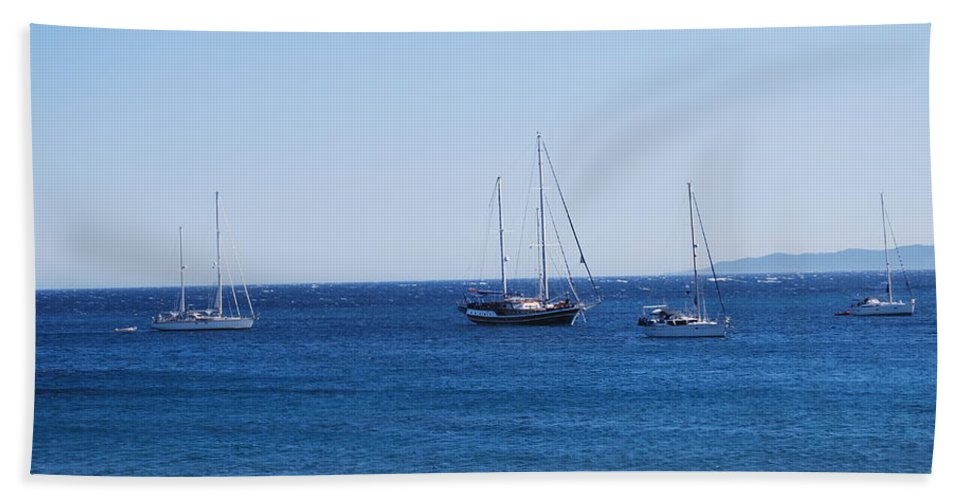 Blue Sea Bath Sheet featuring the photograph The Fleet Is In by George Katechis