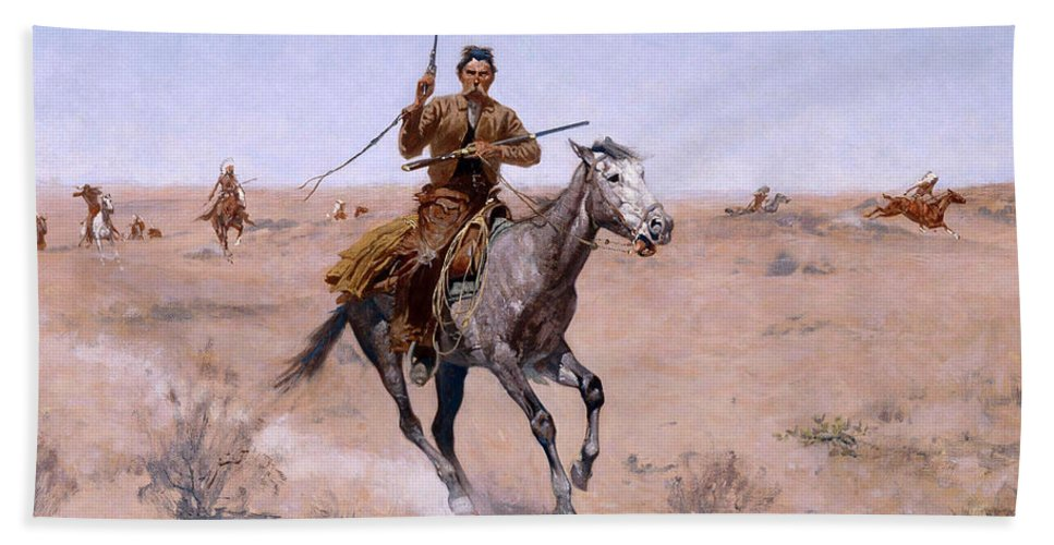 Frederic Remington Bath Sheet featuring the painting The Flight by Frederic Remington
