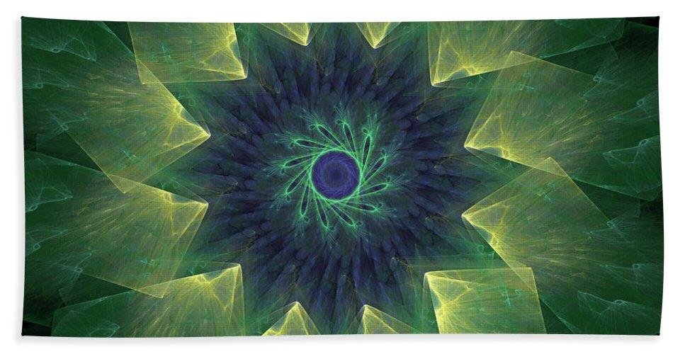 Mandala Bath Sheet featuring the digital art The Flower by Ricky Barnard