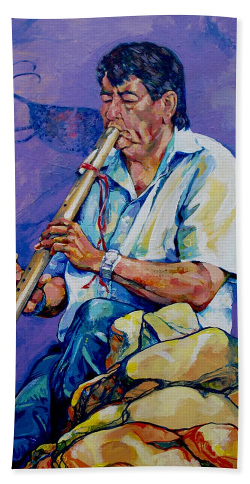 Flute Hand Towel featuring the painting The Flute Player by Derrick Higgins