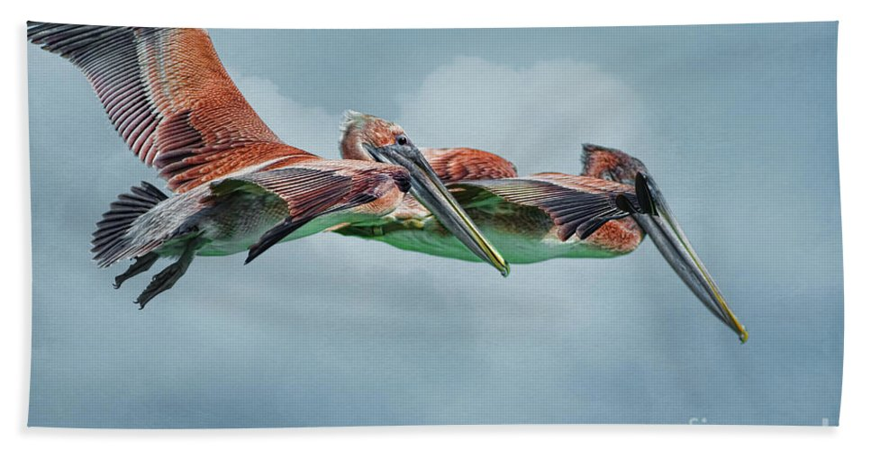 Pelicans Hand Towel featuring the photograph The Flying Pair by Deborah Benoit