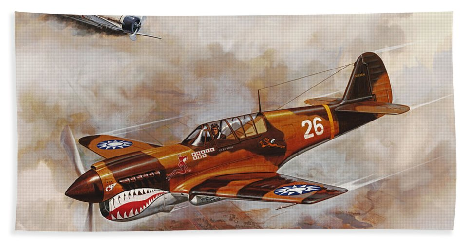 Aircraft Bath Sheet featuring the painting The Flying Tigers by Dick Bobnick