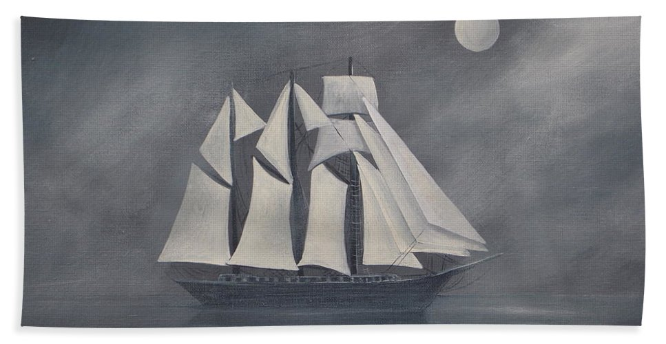 Ship Hand Towel featuring the painting The Fog by Virginia Coyle