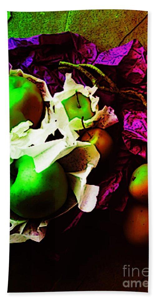 Apples Image Bath Sheet featuring the digital art The Forbidden Fruit II by Yael VanGruber