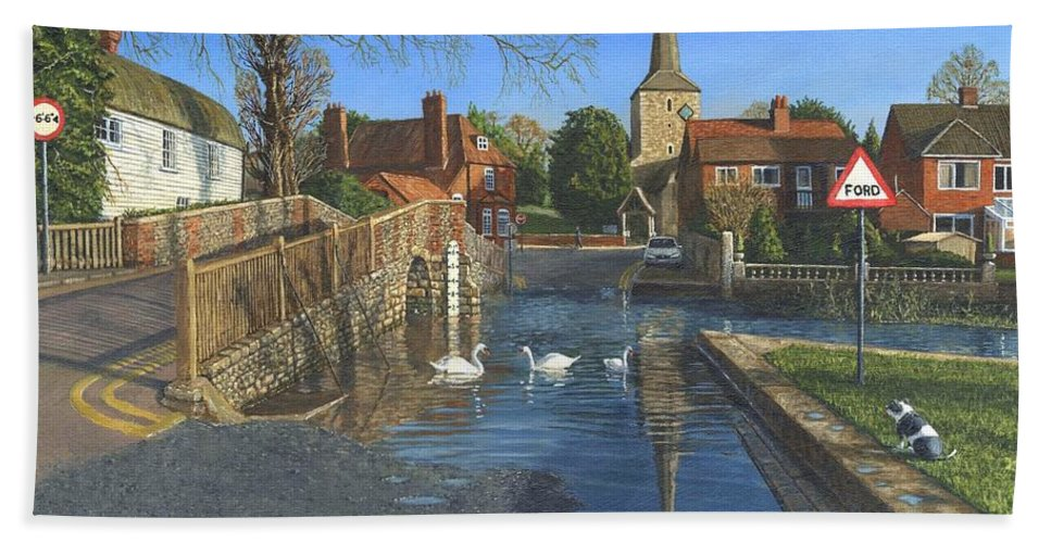 Eynsford Hand Towel featuring the painting The Ford At Eynsford Kent by Richard Harpum