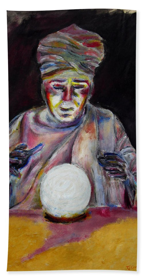 Fortune Tellers Bath Sheet featuring the painting The Fortune Teller by Tom Conway