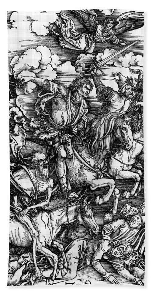 4 Bath Towel featuring the painting The Four Horsemen Of The Apocalypse by Albrecht Durer