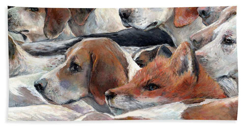Nature Hand Towel featuring the painting Fox Play by Donna Tucker