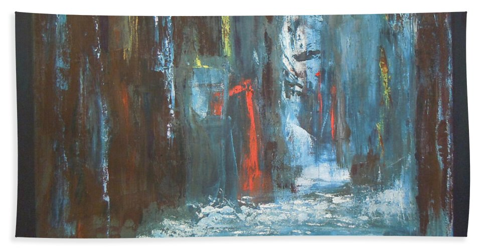 Abstract Bath Sheet featuring the painting The Free Passage by Mini Arora