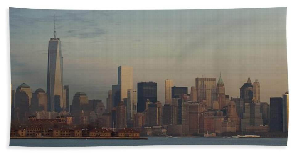Freedom Hand Towel featuring the photograph The Freedom Tower And Island by John Wall