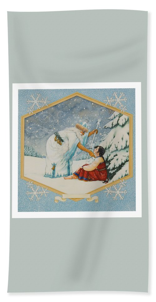 Fairy Tale Hand Towel featuring the painting The Frost King by Lynn Bywaters