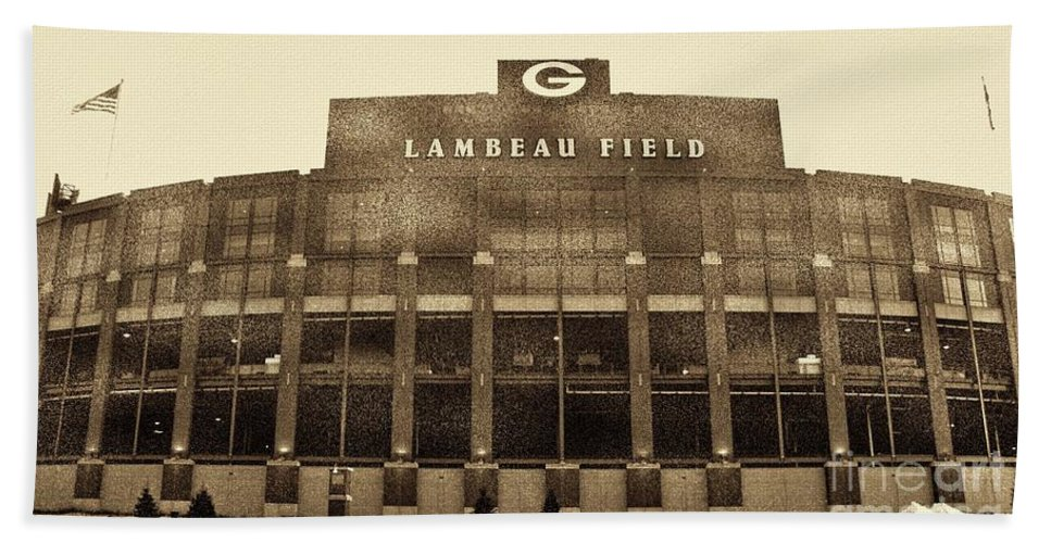 Lambeau Field Hand Towel featuring the photograph The Frozen Tundra by Tommy Anderson