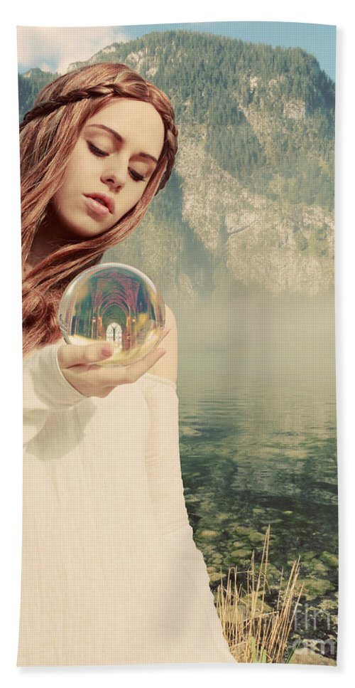 Magic Bath Sheet featuring the digital art The Future Foretold by Linda Lees