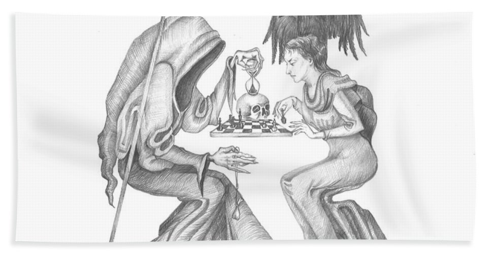 Neosurrealism Hand Towel featuring the painting The Game by Margaryta Yermolayeva