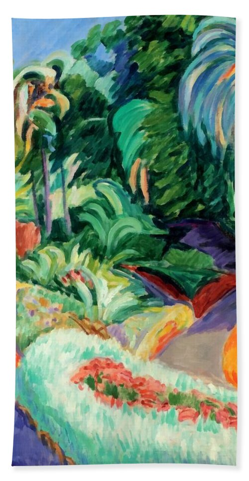 The Garden Hand Towel featuring the digital art The Garden by Francisco Iturrino