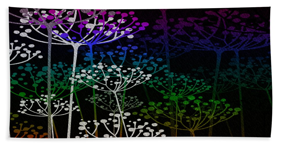 Fred Mefeely Rogers Hand Towel featuring the mixed media The Garden Of Your Mind Rainbow 2 by Angelina Vick